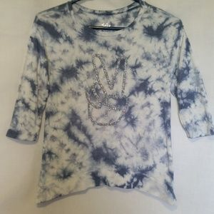 Justice Blue & Whites Sequin Top Size 10